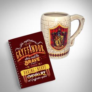 Combo Ly sứ khắc nổi và Sổ tay Gryffindor